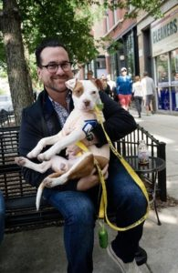 Greg Nagel with adoptable dog from One Tail At a Time