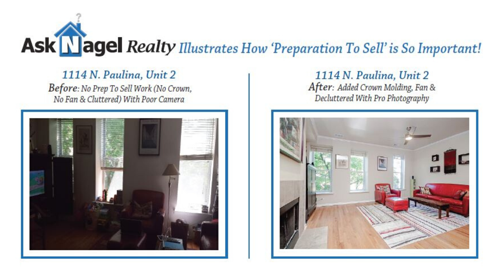 before & after photos of staging at 1114 N. Paulina