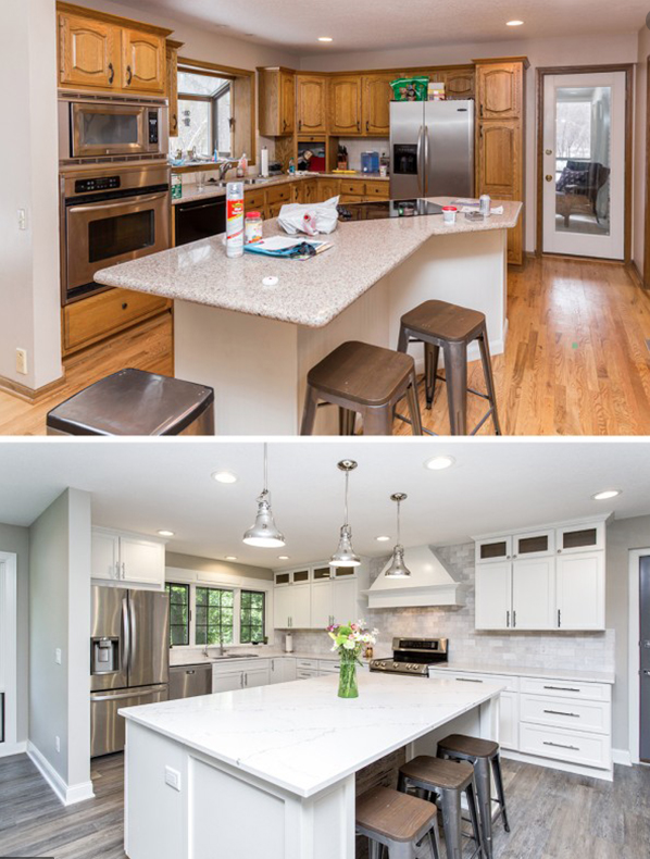 before & after of a kitchen renovation