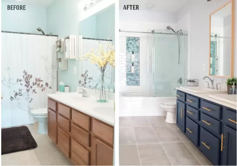 before & after of a bathroom renovation