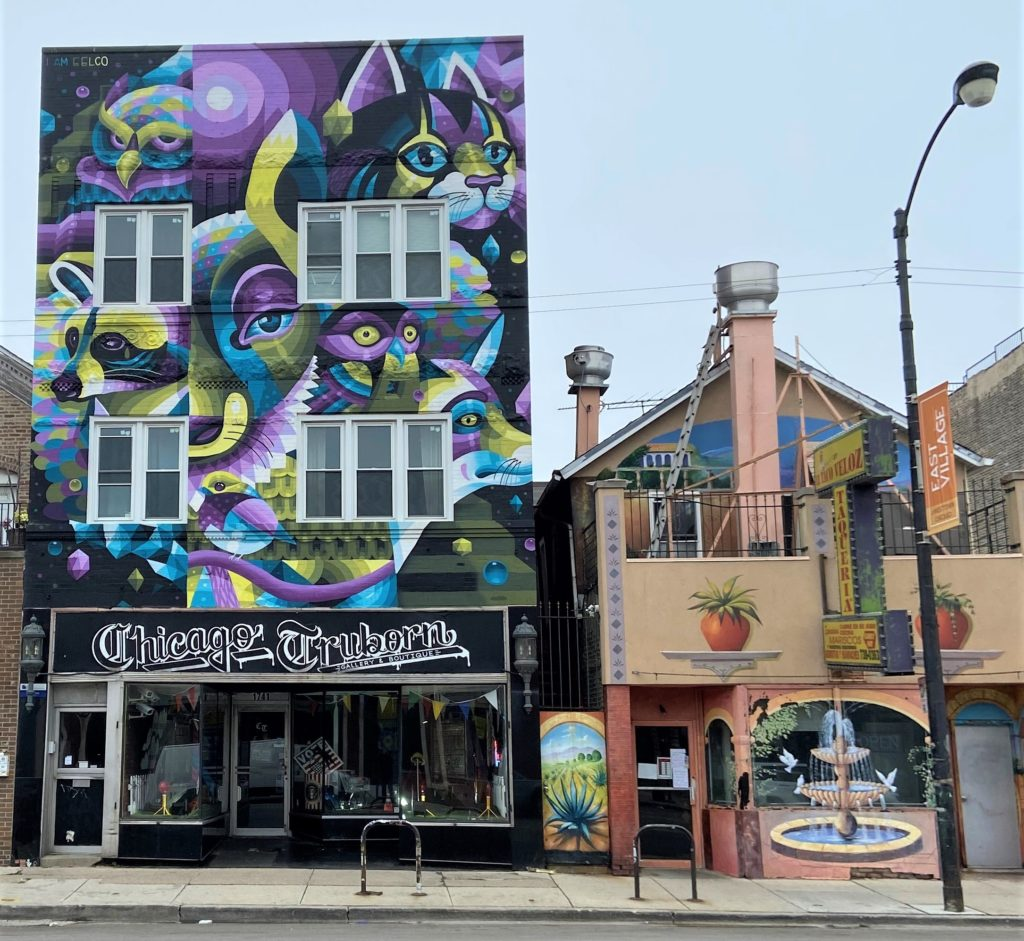 beautiful mural on exterior of Chicago Truborn gallery