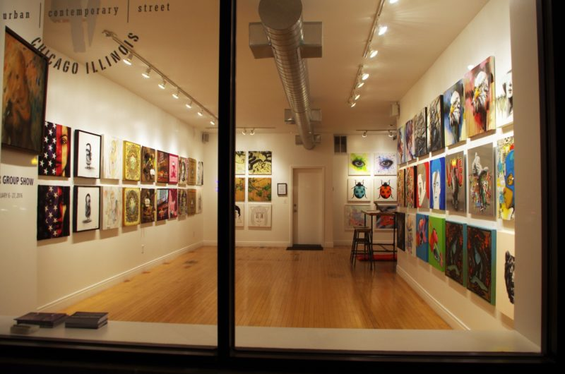 nighttime view into window of Vertical Gallery