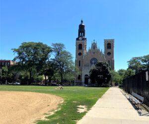 St. Stanislaus Kostka overlooks Pulaski Park.