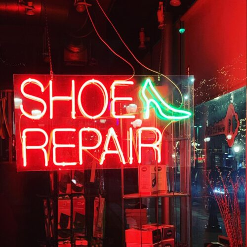 neon sign for Red Star Cobbler
