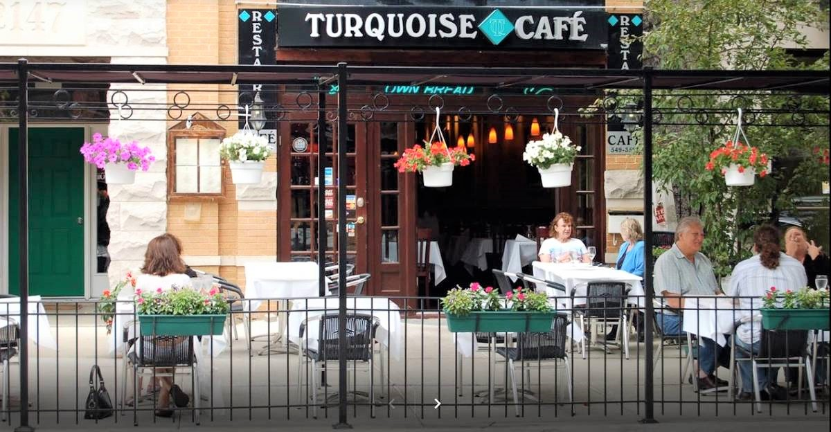 Turkish cuisine served on patio at Turquoise restaurant