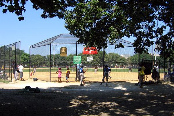 playing baseball at Hamlin Park