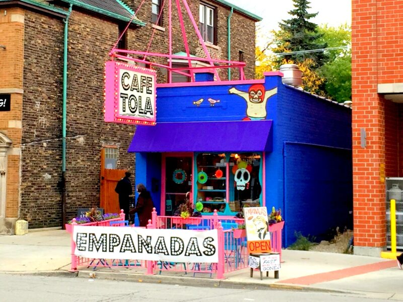 brightly-colored exterior of Cafe Tola