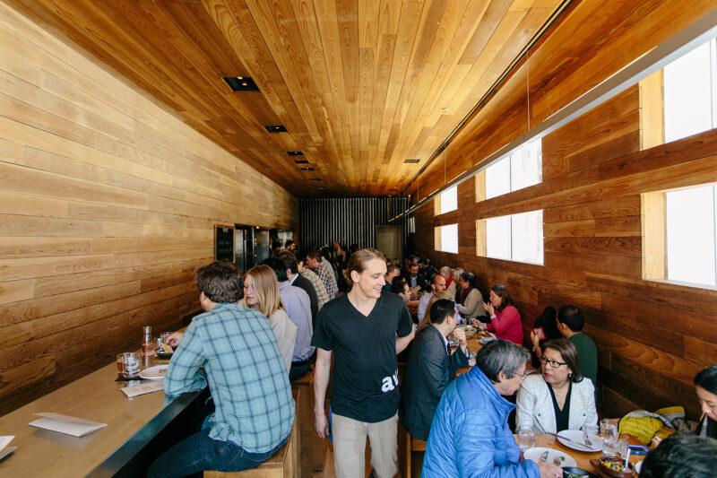 the interior woodwork of Avec restaurant