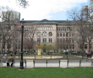 View of The Newberry Library from Washington Square Park