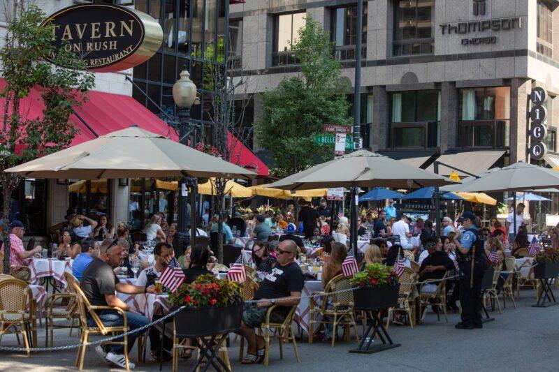 the summer patio scene at Tavern On Rush